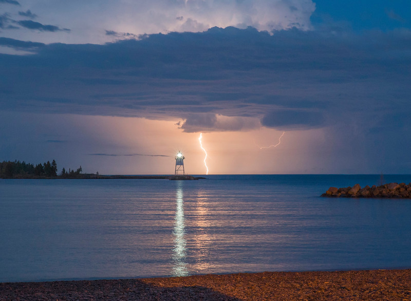Lightning Over Grand Marais Harbor 003
