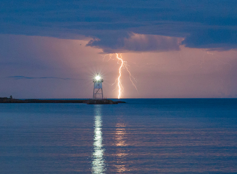 Lightning Over Grand Marais Harbor 004