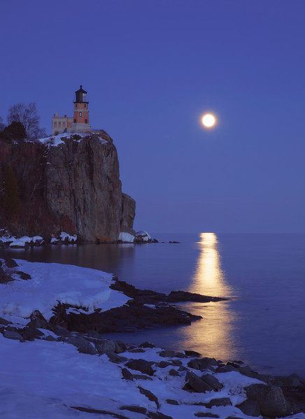 March Moonrise at Split Rock Lighthouse
