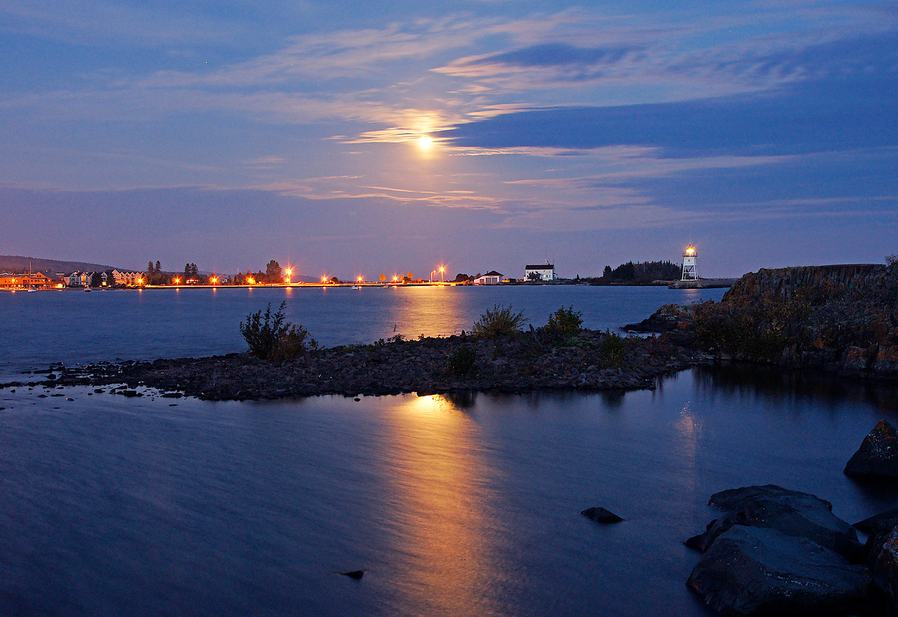 Hunter's Moon Over Grand Marais Harbor<br /> <br /> Upon arriving home, we were welcomed by the October Hunter's moon rising above the Grand Marais harbor.