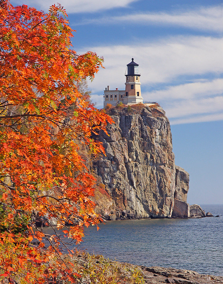 Split Rock Lighthouse Fall Colors<br /> <br /> This tree at Split Rock Lighthouse held its leaves longer than any of the other trees around it.