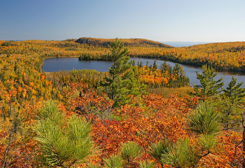 Tettegouche Lake Overlook<br /> <br /> If you have never hiked the mile and a half back into this beautiful wilderness area I would highly recommend it.  There are high ridges that give you awe inspiring views of four mountain like lakes high above Lake Superior.
