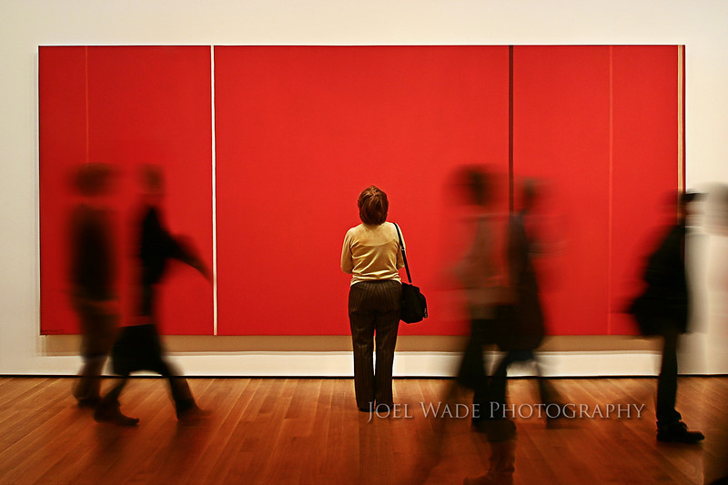 "Art Movement – New York City<br /> <br /> Happy accidents are a remarkable thing, and in this case gave me one of my all-time favorite New York images.  Taken several years ago inside the Museum of Modern Art, I was trying to capture the bustle of the crowd in contrast to the stillness of the art.  Tripods aren't allowed, so I was doing my very best to hold still in the low light when this woman stopped and framed herself perfectly on the giant abstract canvas and stayed there transfixed for enough time for me to snap a few frames.<br /> <br /> Pro Tip:  How can you get your pictures sharper (especially in low-light when the shutter speed is slow)?<br /> <br />        1)   Tuck your elbows in tight to your chest and hold the eyepiece firmly against your head to create a ""tripod"" with your own body. Exhale, and then gently press the shutter.<br />        2)   If you can, rest even a small part of your camera (or your own body) on a wall or railing for extra stability.<br />        3)   Turn on burst mode if your camera has one and take several shots.  Zoom in tight and you'll find that one of your shots will almost always be sharper than the others based on the natural sway of your body.<br /> <br />  ISO 400, 28mm, f/10, 1/3s exposure."
