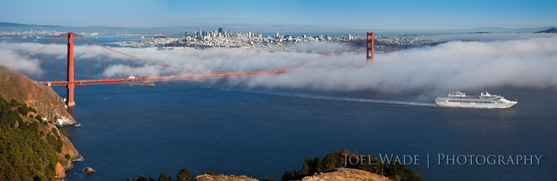 Bon Voyage<br /> <br /> Summer in San Francisco is fog season.  It's also very fickle – it can come in fast and disappear just as quickly.  Shot this two years ago sitting and waiting for the fog to come in.  I still haven't gotten a perfect sunset fog shot with the bridge and city, but I'll keep trying.  Panorama assembled from three horizontal frames.<br /> <br /> ISO 200, 70mm, f/14, 1/160 second exposure.