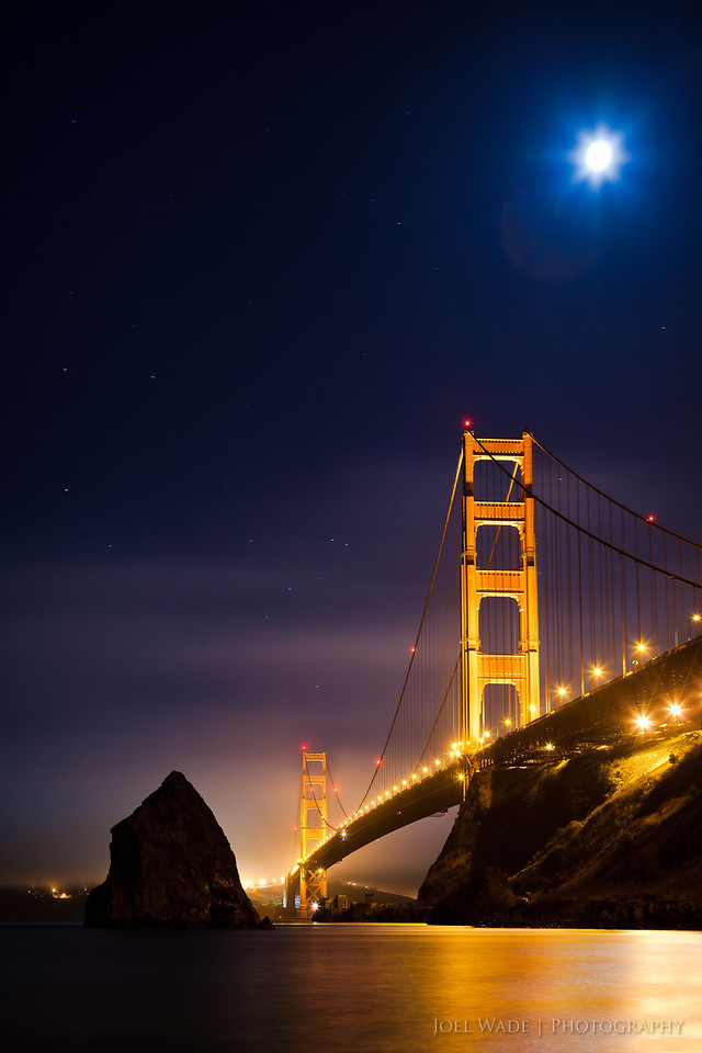 """Baby Moon<br /> <br /> With our second child impending, my wife and I snuck away for an overnighter """"Baby Moon"""" at Cavallo Point in Marin a few weeks ago, and I snuck away for a little night photography with my own full moon.<br /> <br /> ISO 200, 45mm, f6.3, 30 second exposure."""
