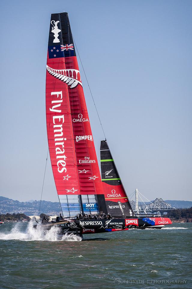 Team Emirates New Zealand at speed...