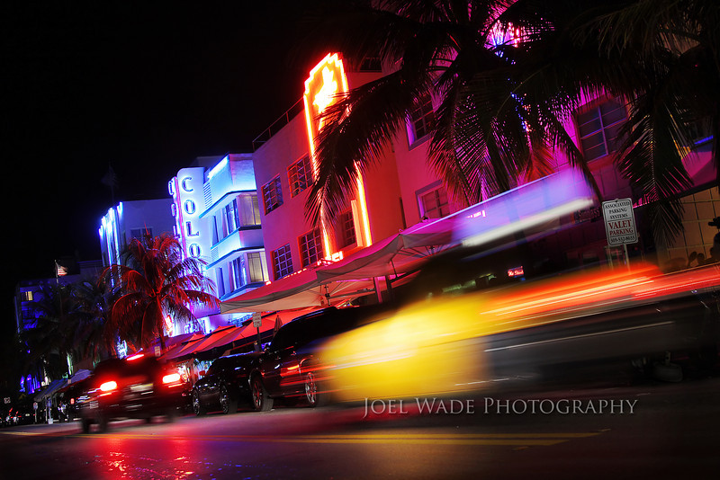 Ocean Boulevard – Miami<br /> <br /> I spent the last week traveling and being too cold, so here's a spicy night shot with lingering memories of being way too hot.<br /> <br /> Tip:  Moving vehicles can add more interest and drama to a scenic night shot.  Keep experimenting with your shutter speed until you get just the right amount of motion blur, and then just keep shooting.<br /> <br />  ISO 100, 28mm, f/4, .8 second exposures.