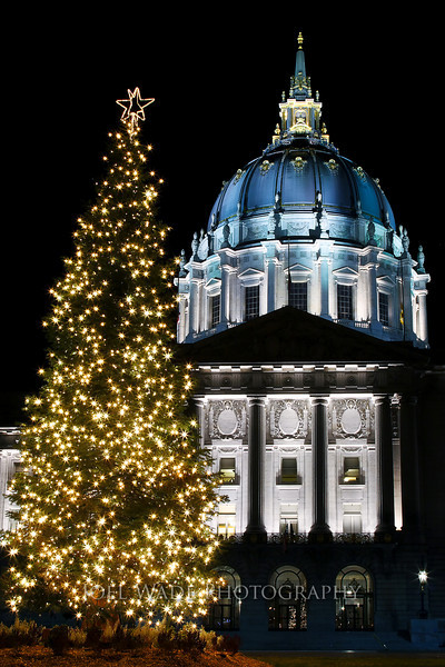 San Francisco Christmas<br /> <br /> City Hall was fully-bedecked in its holiday finery in 2006.  Happy holidays to all!<br /> <br /> Tip:  Newer digital cameras make getting great shots of holiday lights easy.  Turn your ISO to 100 or to NIGHT MODE so you get a long exposure.  Use a good tripod or (what I usually do) just rest your camera on something solid.  Then just use the auto timer to avoid the camera shaking when you press the shutter.  <br /> <br />  ISO 100, 32mm, f/20, 8 second exposure.