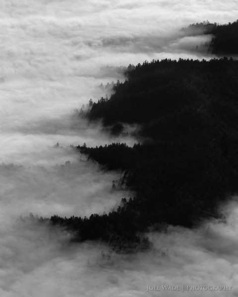 Above<br /> <br /> Visited some friends and their new baby in the city today, and of course the summer fog was in full effect.  Some people hate it, but personally I think it's gorgeous, and a nice trade off from 100+ degree heat inland.  This was shot very early in the morning over the Santa Cruz Mountains on approach to SFO.  Always ask for a window seat!<br /> <br /> ISO 200, 105mm, f8, 1/640 second exposure.