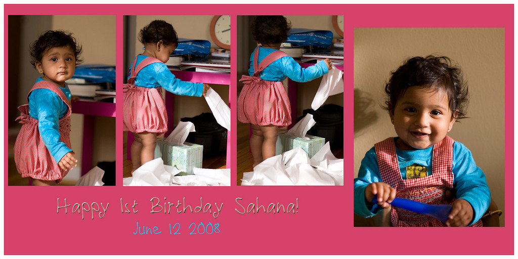 June 12 2008 <br /> <br /> Happy Birthday Sahana! <br /> <br /> Sahana turns 1! My little b'day card for her. Not the best creation yet, but I'm getting better... :-)