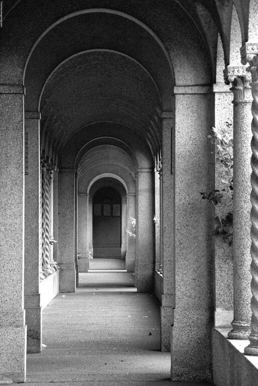 August 15 2008 <br /> <br /> The external corridors of the Franciscan Monastery in Washington DC (infrared conversion - supposedly)