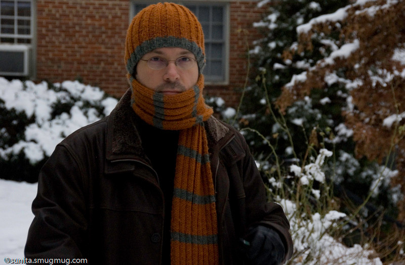 Jan 14 <br /> <br /> Thanasis all bundled up - I knit the scarf and hat for him. (the gauge on the hat  didn't quite match the wool thickness so the hat hasn't quite fulfilled its purpose. Well, at least it matches the scarf!