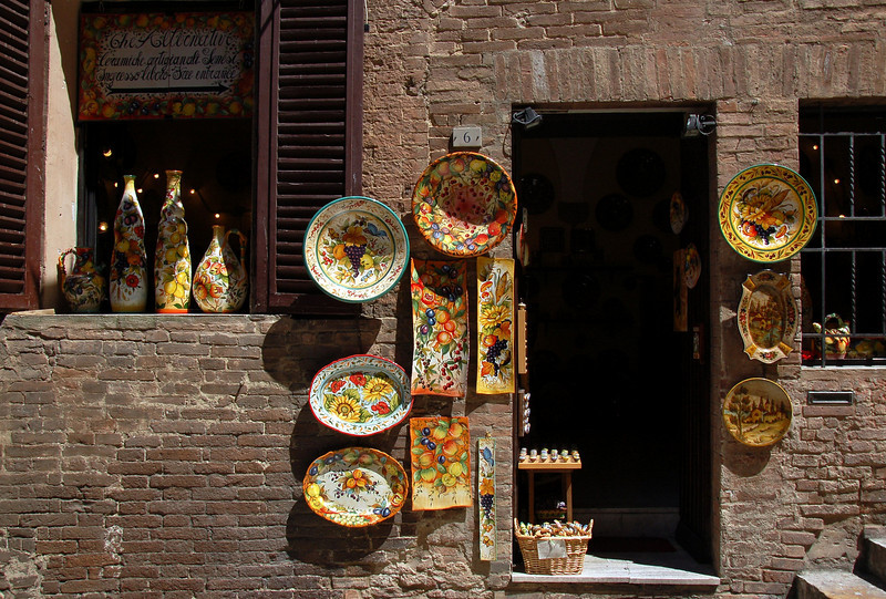 July 22 <br /> <br /> Siena, Italy<br /> <br /> Tuscan ware on display