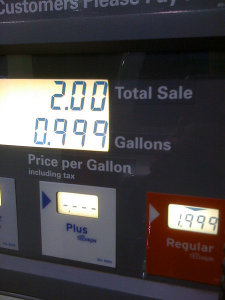 Double check the price when you get gas. Lool at the price per gal  on the bottom.