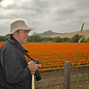 Ken Rockwell overlooks a field of orange poppies being grown for seed.