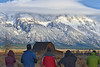 Here comes the light<br /> Photographers wait for morning light to hit the barn on Morman Row, Grand Tetons NP.