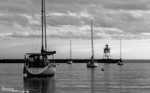 Harbor Dusk<br /> Grand Marais Lighthouse and Harbor at dusk.