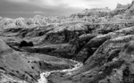 Ancient Seabed IV<br /> Badlands National Park, Pine Ridge Reservation viewing one of the many dramatic views of the South Dakota badlands. Over the eons weathering has revealed the sedimentary layes of the ancient seabed tha predominated long ago.
