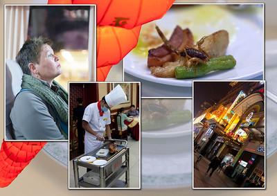 Diner : de beroemde gelakte 'Pekingeend'. De Pekingeend behoorde volgens schriftelijke bronnen tot de keizerlijke gerechten van de Yuan-dynastie. gedecoreerd met gefrituurde schorpioen.