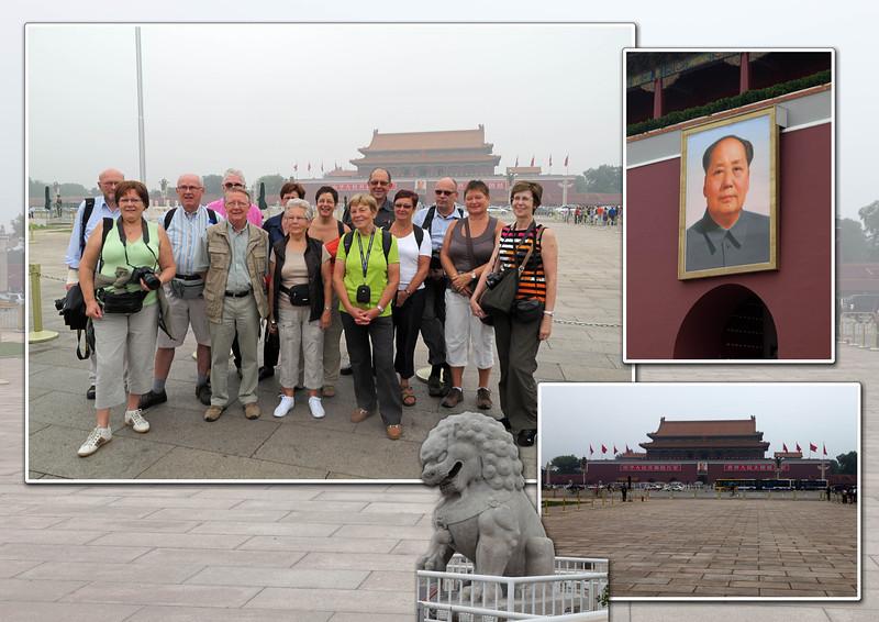 Als we de middenlijn volgen vanuit het noorden naar het zuiden zien we de Poort van de Hemelse Vrede, met Mao die je aanstaart, die leidt naar de Verboden Stad, het monument voor de Volkshelden, het mausoleum van Mao en de Voorpoort.