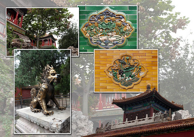 Kleurrijke tegels op de muren van het paleis; spelende eenden en lotusbloemen.