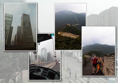 BEIJING      -    MUTIANYU Op weg naar 'De Grote Muur', ongeveer 40 km buiten Beijing. Mutianyo, een stil natuurgebied waar een prachtig gedeelte van de Grote Muur te bezichtigen is. Met de kabelbaan naar boven. Gewandeld vanaf toren 12 tot 8. Imposante trappen leiden ons naar de wacht- en uitkijktorens.