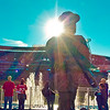 Dick Howser memorial statue. <br /> Kauffman Stadium.<br /> Kansas City, MO