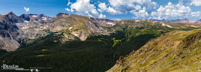 Northern Front Range<br /> Panoramic view of the Gorge Lakes Area, the Continental Divide along Colorado's northern front range, and Forest Canyon across from the Ute Trail along Trail Ridge, Rocky Mountain National Park.