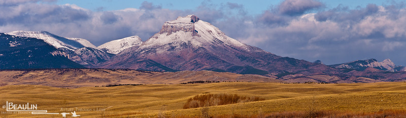 First Snow<br /> Sawtooth Range, Rocky Mountain Front - Lewis & Clark National Forest. View from Pishkun Reservoir west of Choteau, Montana.