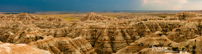 Ancient Seabed II<br /> Badlands National Park, Pine Ridge Reservation viewing one of the many dramatic views of the South Dakota badlands. Over the eons weathering has revealed the sedimentary layes of the ancient seabed tha predominated long ago.