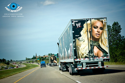 Hot divas of the wrestling world... while driving, I snapped a few shots as these trucks drove through the Twin Cities!