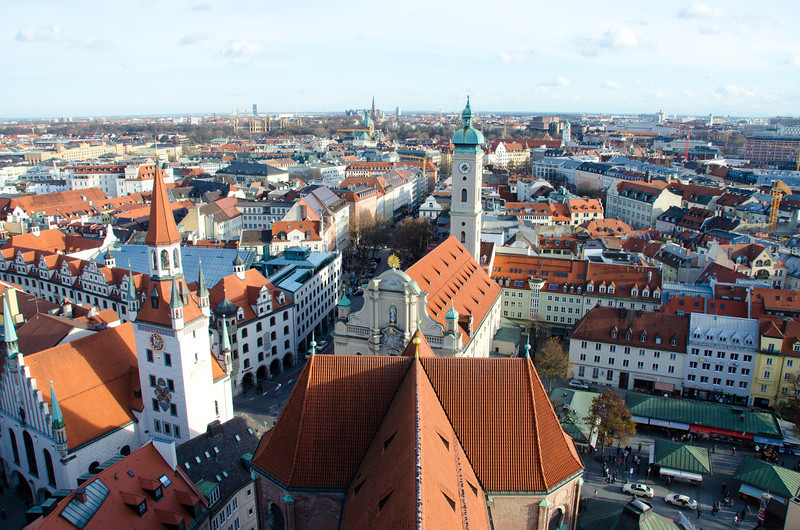 View of downtown Munich from the top of St. Peter's Church