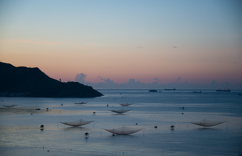 Fish nets at sunrise