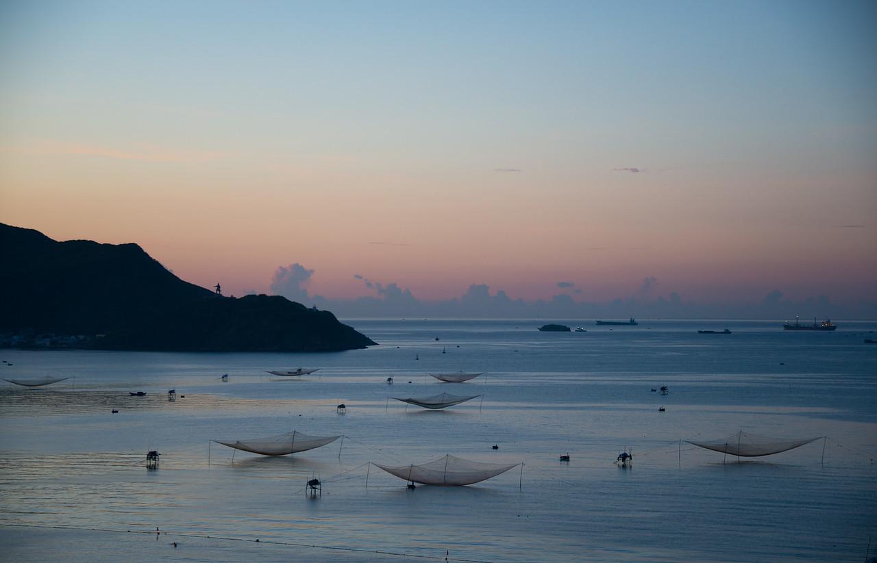Fish nets at sunrise