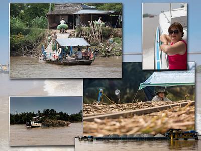 we varen op de 'Saigon'-rivier en verbazen ons van de bedrijvigheid van kleine sampans tot overvolle laadbakken van duwkonvooien