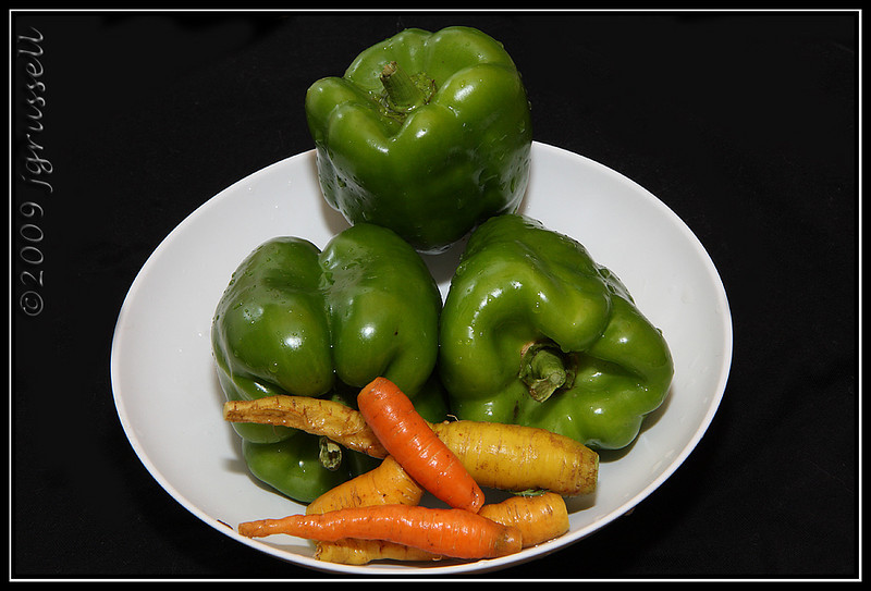 Green peppers<br /> and carrots