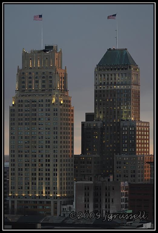 Night falls on Newark