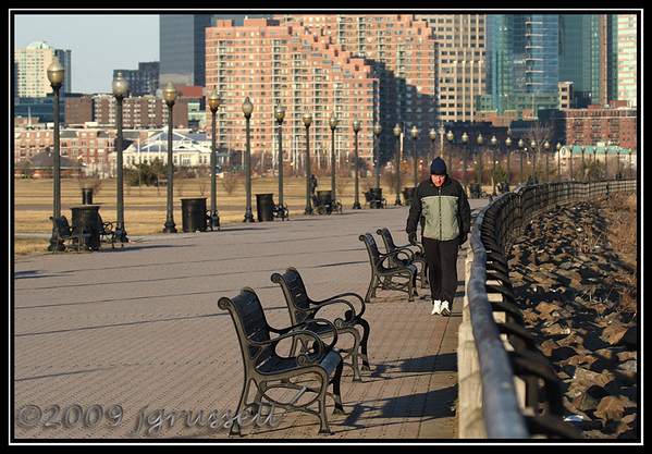 Winter walker, Liberty State Park