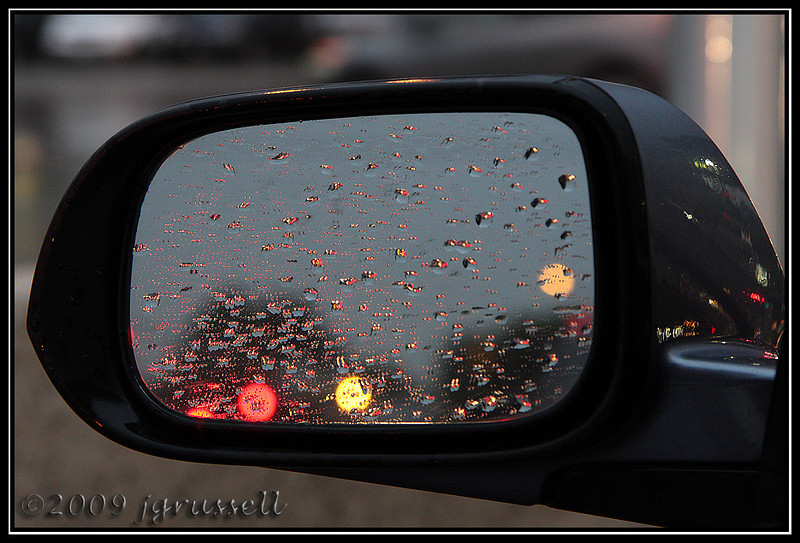 Rainy commute home:<br /> Side view mirror