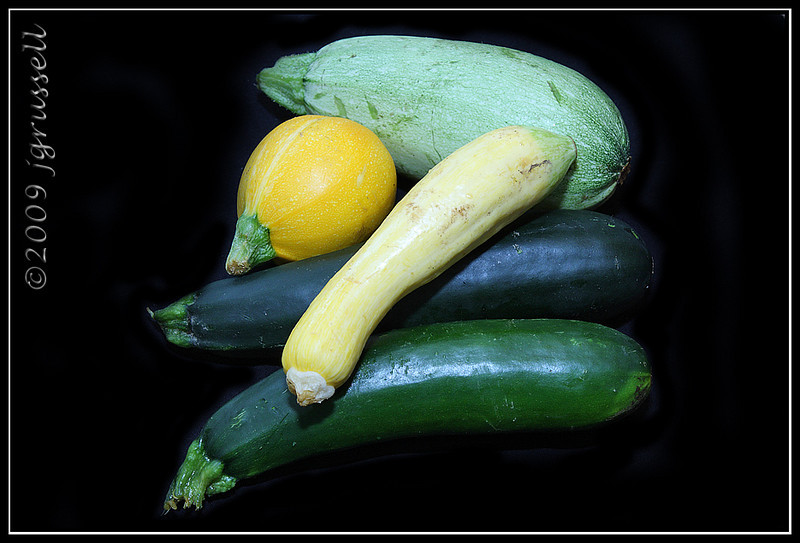 Five different types of zucchini