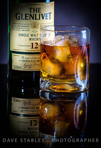 "Sunday 27 April 2014: GLENLIVET  I love playing in my studio with my new lights and modifiers to see what kind of still life shots I can pull off. This was today's experiment. I watched a training video by an incredible product photographer, and although I didn't have all the equipment he had available, I am personally very pleased with the outcome.  More practice at this will make me even better, and as long as I continue to shoot Glenlivet and ""have"" to drink the props at the end of the shooting...it's a win/win for me!!! Sláinte!!"