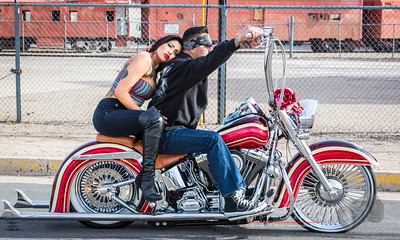 Saturday 25 January 2014: EASY RIDER My friend David invited me along on his shoot this afternoon, and it turned out to be great fun. Although most of the shots we took were intended to look tough and surly, with lots of attitude...this one slipped into the mix and it immediately caught my eye. It is about as soft and tender as I think it is possible to be on a bike, so it is my shot for the day.