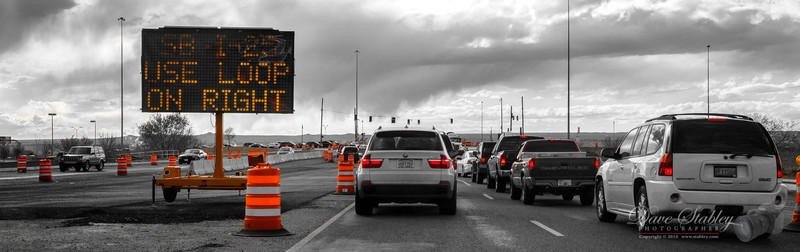 """Friday 7 March 2014: FRUSTRATION  I couldn't have picked a better theme than the one chosen for today, """"Frustration"""". I'm sure it's the same almost everywhere, with the advent of Spring, comes the cones of orange!! This particular interchange enhancement typically costs me an additional 10 minutes going to work, and almost 25 extra coming home. The """"good"""" news (he said with a voice dripping with sarcasm), is that it is only """"supposed"""" to last 14 months!! I'll believe that when I see it!! In the meantime, I'll be sitting here in traffic, staring at those orange cones and barrels, and silently cursing myself for voting to fund this project!"""
