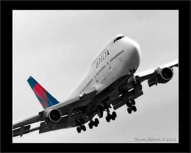 Delta 747 at Narita, Japan. 2-27-2012 (no they were not at that funky angle.. that is just the crop I chose).