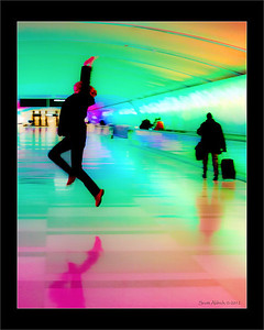 Jumping like a goofs in the DTW airport tunnel - January 31, 2012.