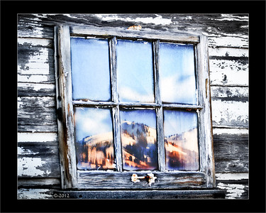 Barn window on Old Ranch Road - The Canyons resort in reflection. January 3, 2012.