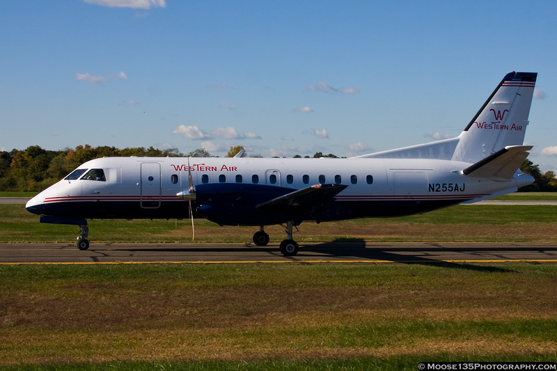 October 22 - Saab 340 taxies for departure at Republic Airport.
