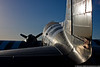 April 10 - The setting sun casts shadows on the C-47 at the American Airpower Museum.