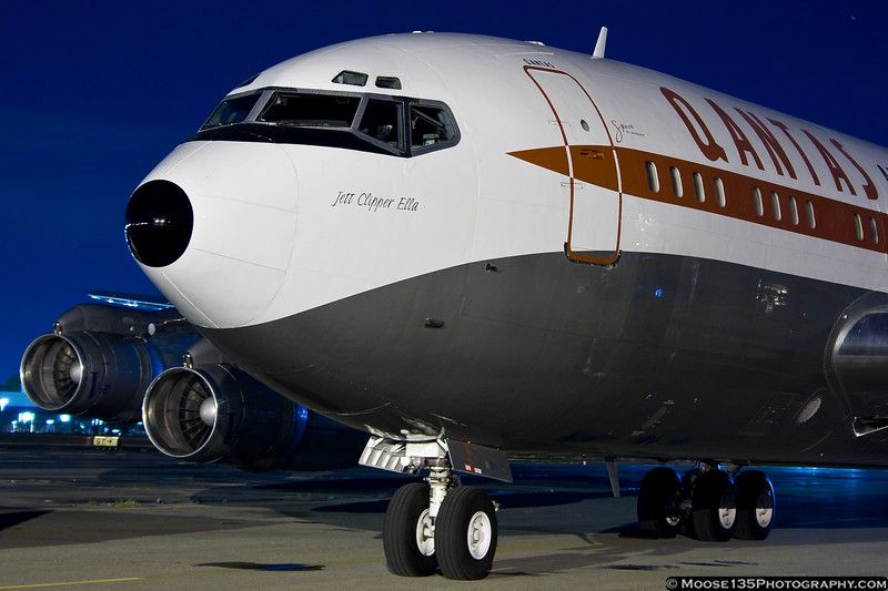 October 26 - This classic Boeing 707, owned by actor John Travolta, arrives at Republic Airport for use in filming of the television show Pan Am.