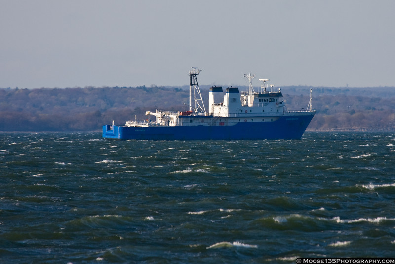 April 21 - T/V Kings Pointer, the training ship of the United States Merchant Marine Academy, on Long Island Sound.